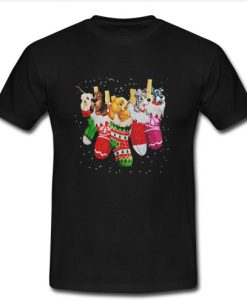 Dog in socks Christmas shirt