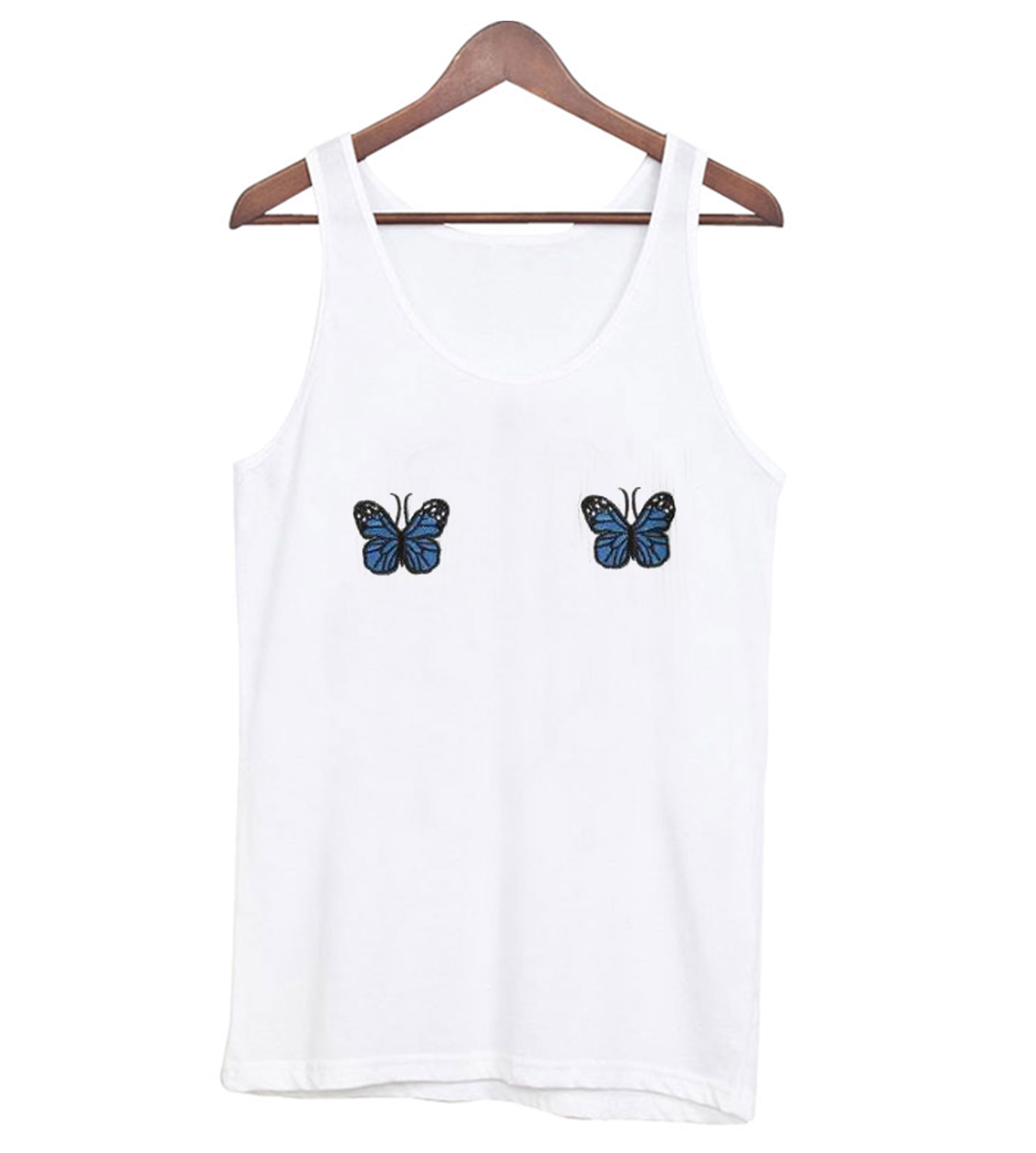 Blue Ribbed Butterfly Tank top